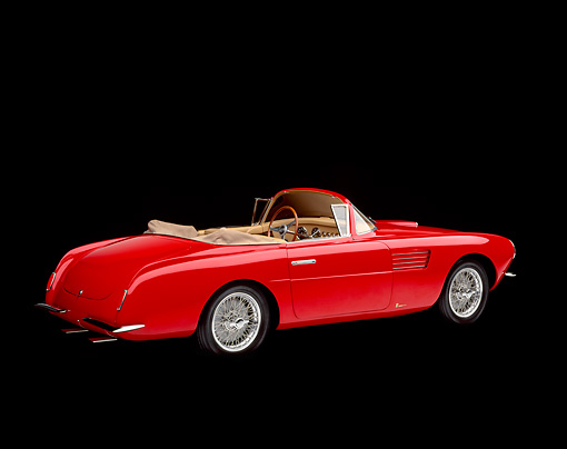 AUT 21 RK0524 02 © Kimball Stock 1954 Fiat Vignale 8V Spider 3/4 Rear View Studio