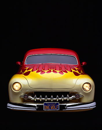 AUT 21 RK0536 07 © Kimball Stock 1950 Mercury Custom Street Rod Red Yellow Flames Head On Studio