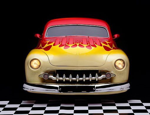 AUT 21 RK0537 09 © Kimball Stock 1950 Red/Yellow Custom Mercury, head on in studio with checkerboard floor