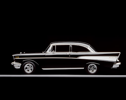 AUT 21 RK0569 10 © Kimball Stock 1957 Chevy Bel Air Black Side View On Gray Line Studio