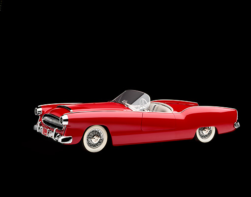 AUT 21 RK0576 05 © Kimball Stock 1953 Plymouth Belmont Convertible Red 3/4 Side View Studio