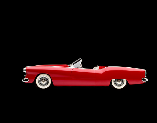 AUT 21 RK0579 04 © Kimball Stock 1953 Plymouth Belmont Convertible Red Side View Studio