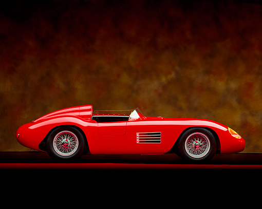 AUT 21 RK0739 05 © Kimball Stock 1956 Maserati 300 S Red Side View On Red Line Brown Marble Background