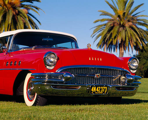 AUT 21 RK0991 01 © Kimball Stock 1955 Buick Roadmaster Convertible Red Low 3/4 Front View On Grass Palm Trees Blue Sky