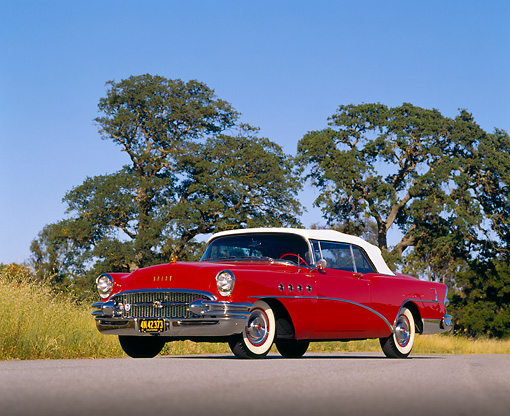 AUT 21 RK0996 04 © Kimball Stock 1955 Buick Roadmaster Convertible Red Low 3/4 Side View On Pavement By Trees Blue Sky