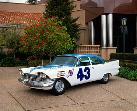 AUT 21 RK1049 02 © Kimball Stock 1959 Plymouth Savoy Replica Of Richard Petty's First Mopar Race Car 3/4 Front View At Museum