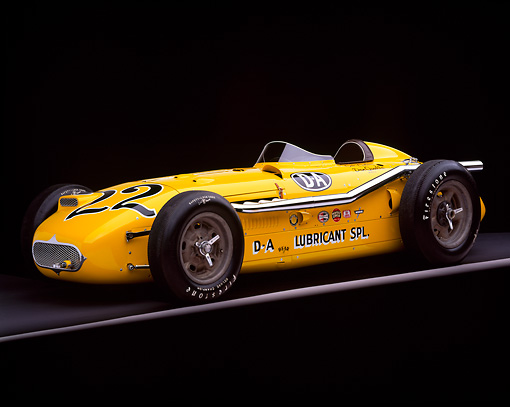 AUT 21 RK1125 04 © Kimball Stock 1953 Kurtis 500B Indy Roadster Yellow Profile On Gray Line Studio