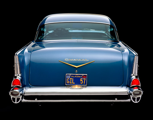AUT 21 RK1153 10 © Kimball Stock 1957 Chevy Bel Air Blue Rear Shot Studio
