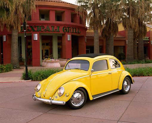 AUT 21 RK1187 05 © Kimball Stock 1956 Volkswagen Bug Rag Top Yellow 3/4 Front View On Pavement