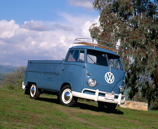 AUT 21 RK1198 03 © Kimball Stock 1959 Volkswagen Type 2 Single-Cab Blue Slanted 3/4 Front View On Grass By Trees Clouds
