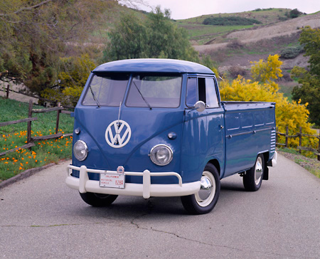 AUT 21 RK1199 02 © Kimball Stock 1959 Volkswagen Type 2  Single-Cab Blue 3/4 Front View On Pavement By Trees And Hills