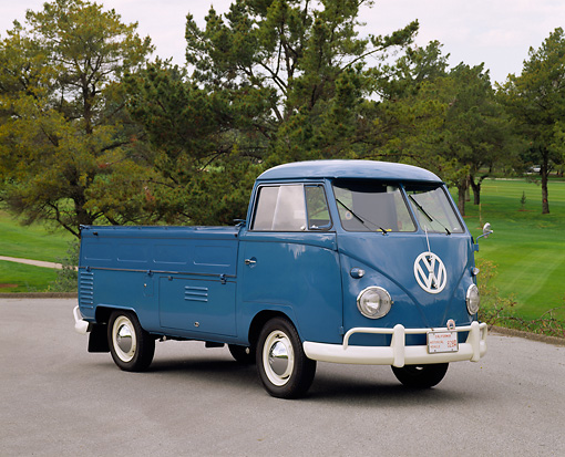AUT 21 RK1203 02 © Kimball Stock 1959 Volkswagen Type 2 Single-Cab Blue 3/4 Front View On Pavement