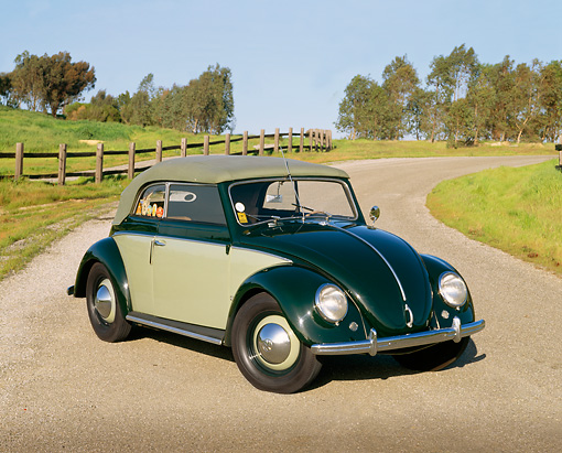 AUT 21 RK1227 04 © Kimball Stock 1950 Volkswagen Karmann Cabriolet Green 3/4 Front View On Pavement By Grass And Trees