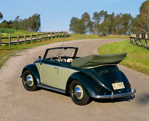 AUT 21 RK1235 08 © Kimball Stock 1950 VW Karmann Cabriolet Green 3/4 Rear View On Pavement