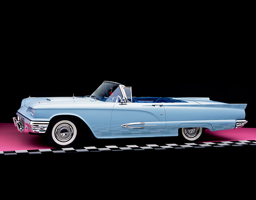 AUT 21 RK1451 07 © Kimball Stock 1959 Ford Thunderbird Convertible Light Blue On Checkered Line Pink Floor Studio