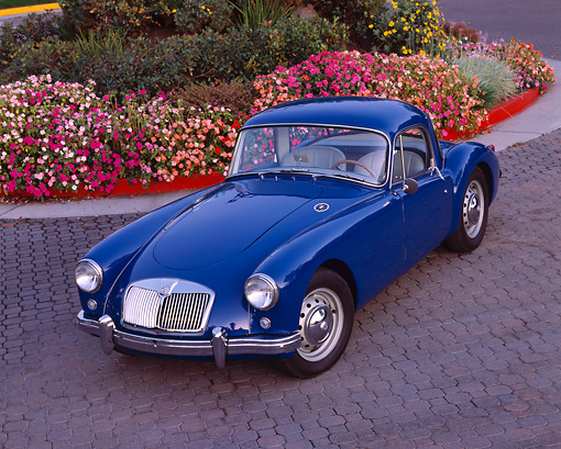 AUT 21 RK1460 05 © Kimball Stock 1958 MGA Coupe Blue 3/4 Overhead View On Pavement By Flowers