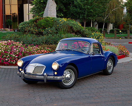 AUT 21 RK1461 01 © Kimball Stock 1958 MGA Coupe Blue 3/4 Front View On Pavement By Flowers