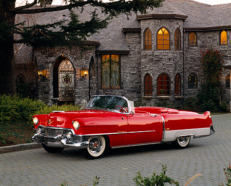 AUT 21 RK1477 06 © Kimball Stock 1954 Cadillac El Dorado Convertible Red 3/4 Side View By House