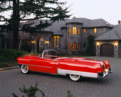 AUT 21 RK1481 02 © Kimball Stock 1954 Cadillac El Dorado Convertible Red 3/4 Rear View By House