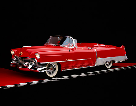 AUT 21 RK1486 01 © Kimball Stock 1954 Cadillac El Dorado Convertible Red 3/4 Side View On Red Floor Checkered Line Studio