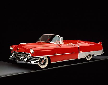 AUT 21 RK1487 02 © Kimball Stock 1954 Cadillac El Dorado Convertible Red And White Side 3/4 View On Gray Line Studio