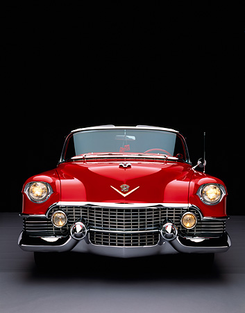 AUT 21 RK1489 23 © Kimball Stock 1954 Cadillac El Dorado Convertible Red Head On Shot Studio