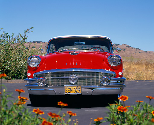 AUT 21 RK1553 01 © Kimball Stock 1956 Buick Century Red And White Head On Shot On Pavement By Flowers Blue Sky
