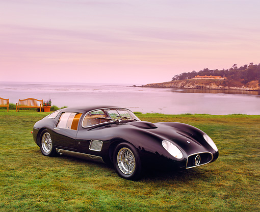 AUT 21 RK1653 02 © Kimball Stock 1957 Maserati 450S Zagato Coupe Black 3/4 Front View On Grass By Water