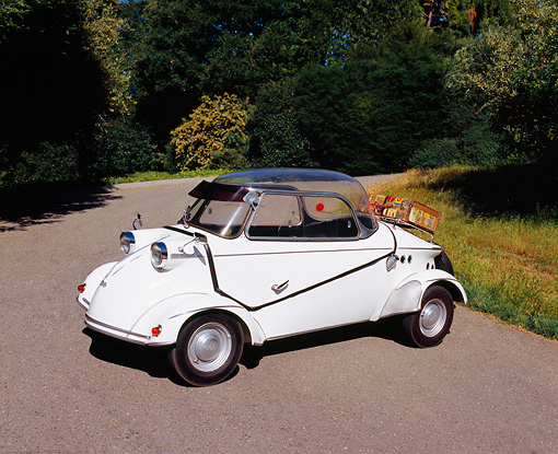 AUT 21 RK1734 04 © Kimball Stock 1959 FMR Messerschmitt Tiger White 3/4 Front View On Pavement