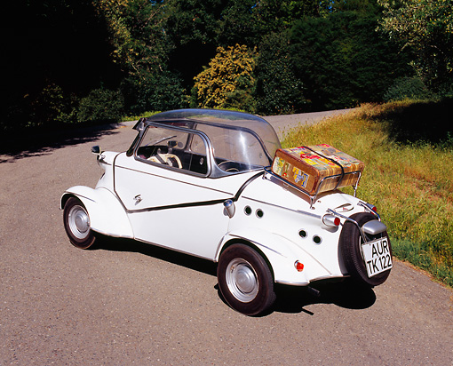 AUT 21 RK1739 02 © Kimball Stock 1959 FMR Messerschmitt Tiger Micro Car White