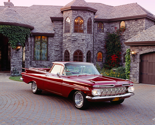 AUT 21 RK1759 02 © Kimball Stock 1959 Chevy El Camino Red