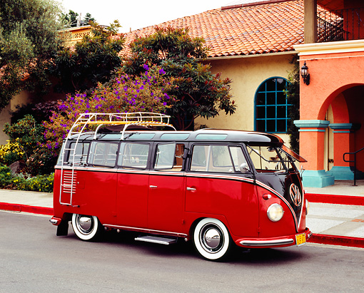 AUT 21 RK1816 03 © Kimball Stock 1956 VW Deluxe Bus Red And Brown