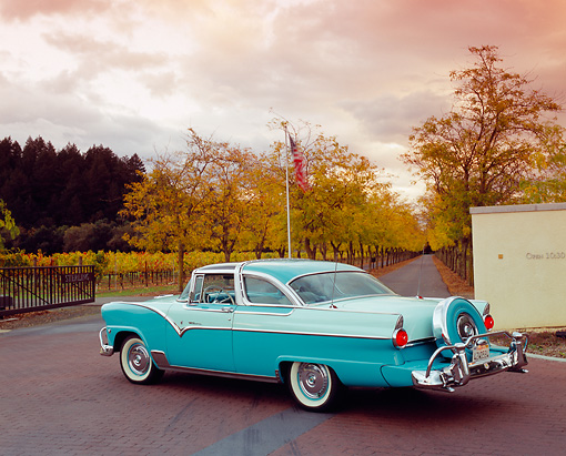 AUT 21 RK1846 03 © Kimball Stock 1955 Ford Crown Victoria Skyliner Two Tone Green 3/4 Rear View On Pavement By Trees