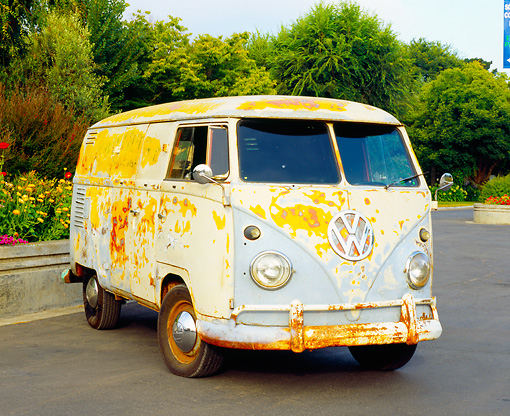 AUT 21 RK1895 03 © Kimball Stock 1959 Volkswagen Bus Type II Front 3/4 View On Pavement By Flowers Trees