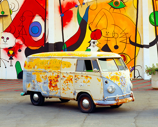 AUT 21 RK1897 01 © Kimball Stock 1959 Volkswagen Bus Type II Front 3/4 View On Pavement By Colorful Wall