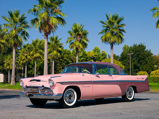 AUT 21 RK2008 01 © Kimball Stock 1956 De Soto Fireflite Sportsman Pink Low 3/4 Side View On Pavement By Palm Trees