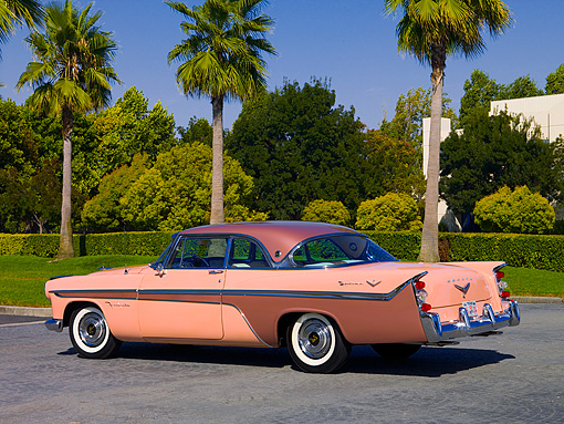 AUT 21 RK2010 01 © Kimball Stock 1956 De Soto Fireflite Sportsman Pink 3/4 Rear View On Pavement By Palm Trees