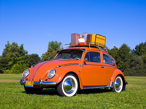 AUT 21 RK2028 01 © Kimball Stock 1958 Volkswagen Beetle Coral Low 3/4 Front View On Grass Trees Background