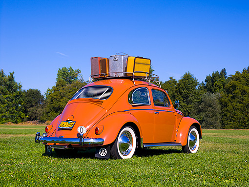 AUT 21 RK2029 01 © Kimball Stock 1958 Volkswagen Beetle Coral Low 3/4 Rear View On Grass Trees Background
