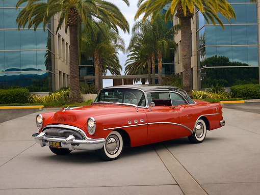 AUT 21 RK2041 01 © Kimball Stock 1954 Buick Super Red Black Top 3/4 Side View On Pavement