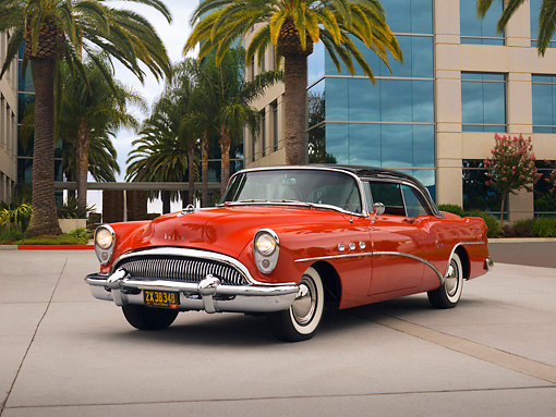 AUT 21 RK2042 01 © Kimball Stock 1954 Buick Super Red Black Top Low 3/4 Front View On Pavement