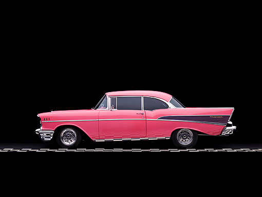 AUT 21 RK2053 01 © Kimball Stock 1957 Chevrolet Bel Air Pink Profile View Studio