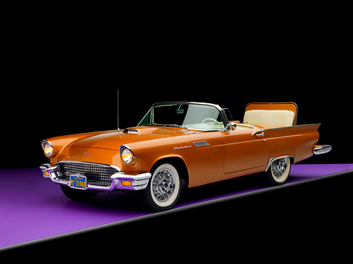 AUT 21 RK2068 01 © Kimball Stock 1957 Ford Thunderbird Convertible Bronze 3/4 Side View Studio