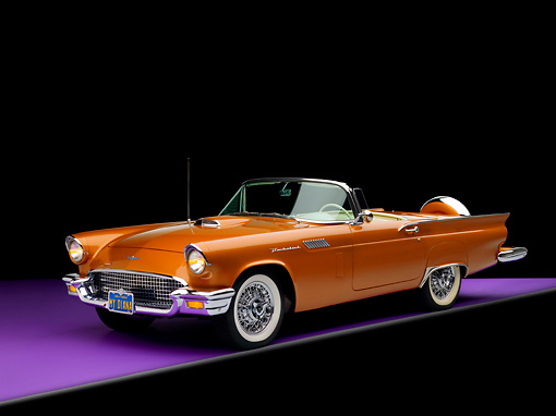 AUT 21 RK2069 01 © Kimball Stock 1957 Ford Thunderbird Convertible Bronze 3/4 Side View Studio