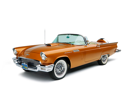AUT 21 RK2072 01 © Kimball Stock 1957 Ford Thunderbird Convertible Bronze 3/4 Front View Studio
