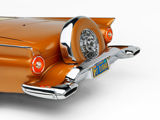 AUT 21 RK2074 01 © Kimball Stock 1957 Ford Thunderbird Convertible Bronze 3/4 Rear View Studio