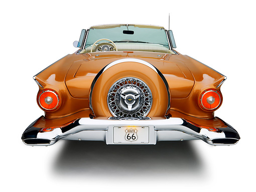 AUT 21 RK2075 01 © Kimball Stock 1957 Ford Thunderbird Convertible Bronze Rear View Studio