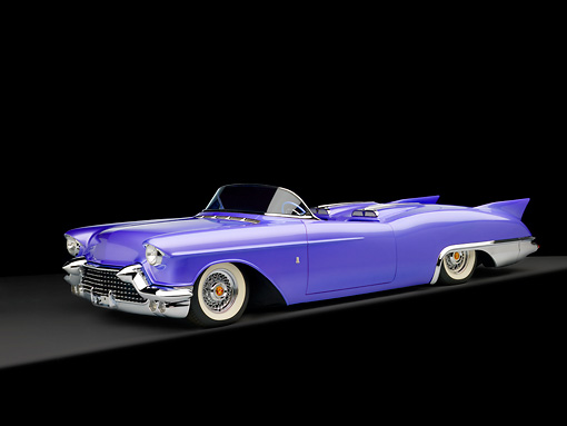 AUT 21 RK2077 01 © Kimball Stock 1957 Cadillac El Dorado Roadster Purple 3/4 Side View Studio