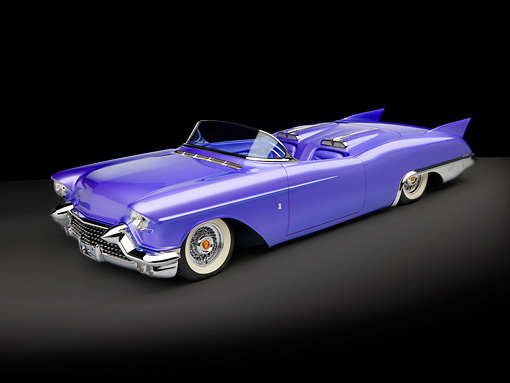 AUT 21 RK2078 01 © Kimball Stock 1957 Cadillac El Dorado Roadster Purple 3/4 Side View Studio