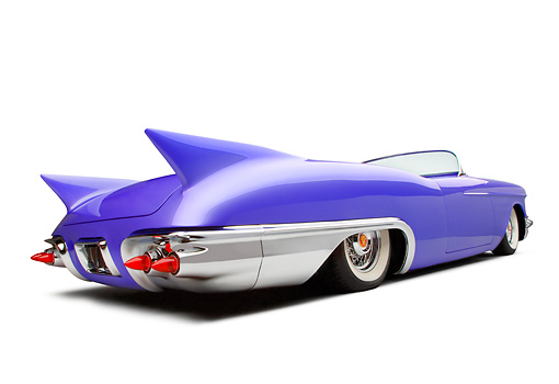 AUT 21 RK2081 01 © Kimball Stock 1957 Cadillac El Dorado Roadster Purple 3/4 Rear View White Seamless Studio